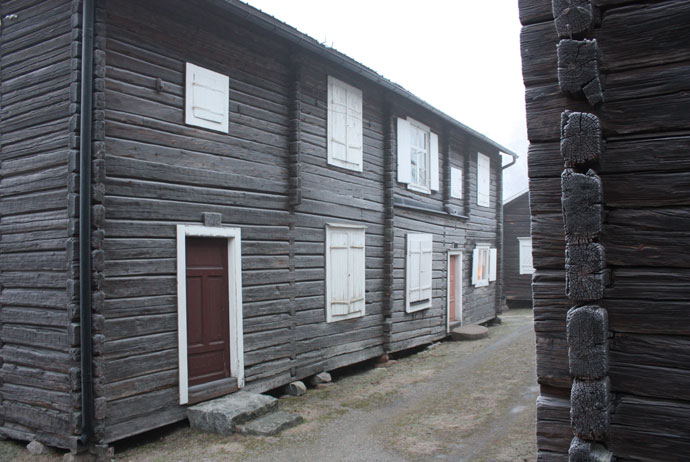 Cottages at the church town near Piteå
