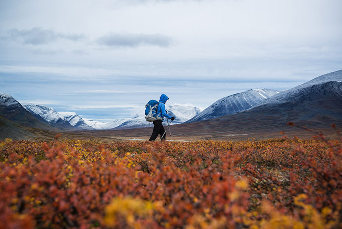 Hiking along the Kungsleden trail in northern Sweden