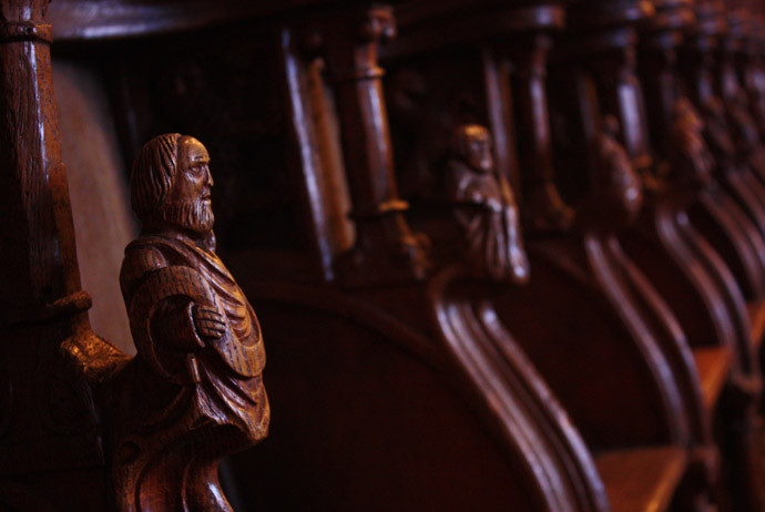 The wooden pews in Lund Cathedral