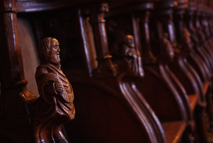 Wooden pews inside Lund Cathedral