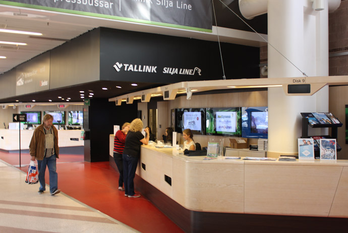 The Tallink Silja Line ferry booking desk in Stockholm