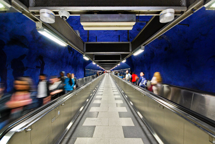 Free art tours take place on Stockholm's subway system
