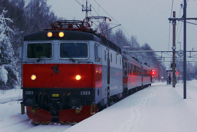 Snowy train in Sweden