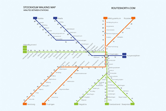 Map showing walking distances between Stockholm's subway stations