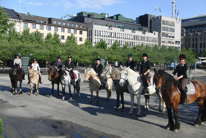 Riding in central Stockholm