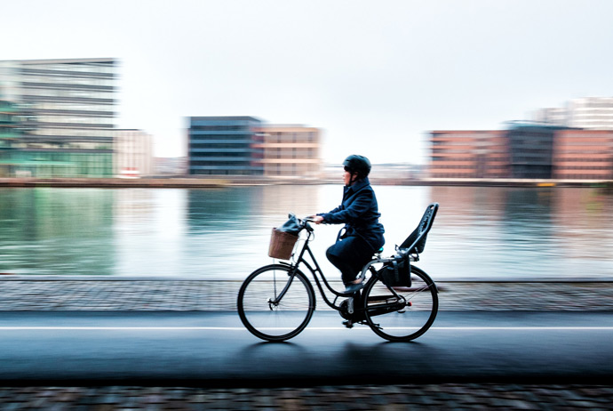 Cycling in Copenhagen during winter