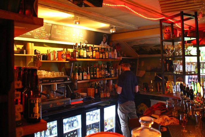 The bar at Café Salonen in Copenhagen