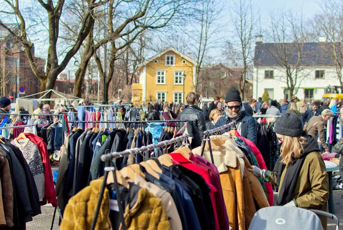 Vestkanttorvet flea market in Oslo