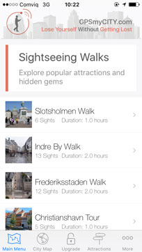 Walking app in Copenhagen, Denmark