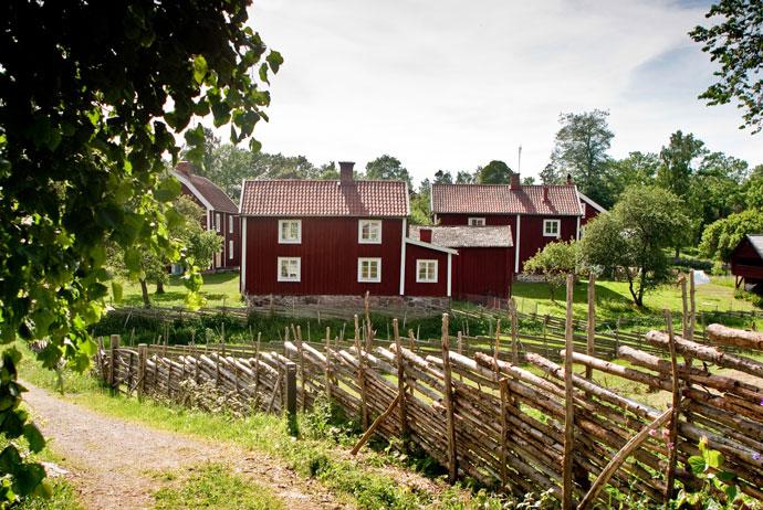 Red cottages in Småland, Sweden