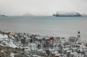 Hammerfest is on the island of Kvaløya in Norway