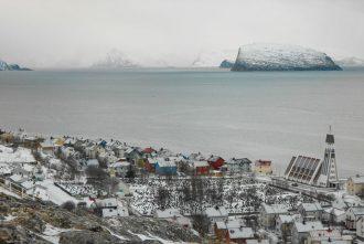 Hammerfest is on the island of Kvaløya in Norway