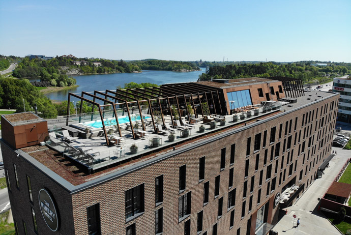The rooftop bar at the Winery Hotel in Stockholm