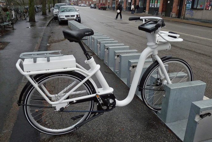 One of the electric rental bikes in Copenhagen
