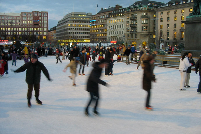 Ice skating is a fun winter activity in Stockholm
