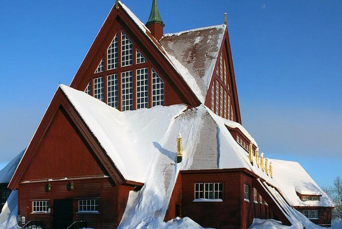 Kiruna church in the snow