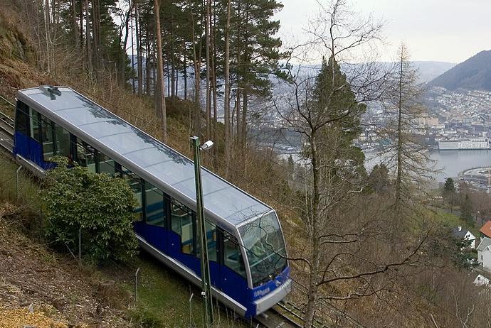 The Fløibanen funicular heads up to the top of Mt Fløyen in Bergen