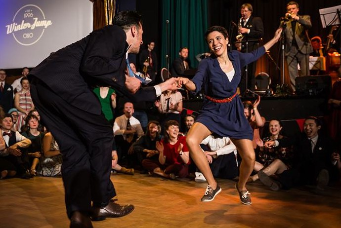 Dancers at the Winter Jump lindy hop festival in Oslo