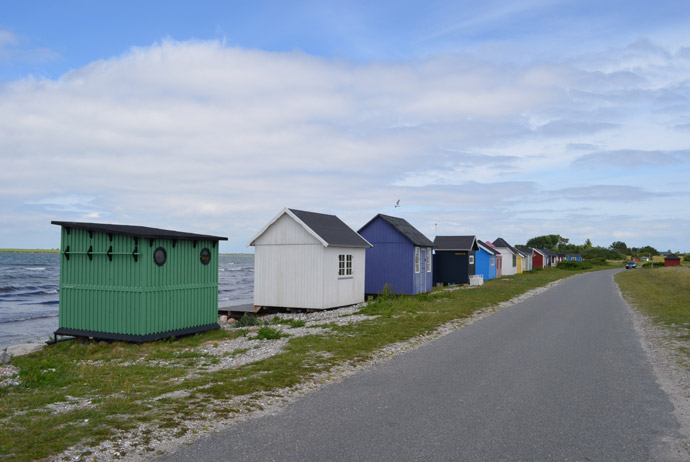 Aeroskobing's famous beach huts on the island of Aero