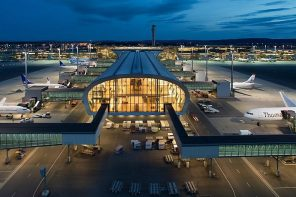Oslo airport terminal at night