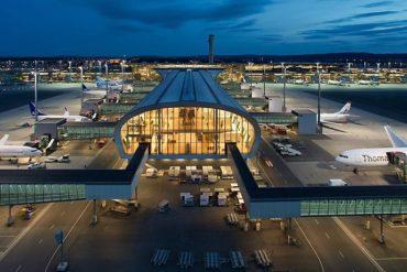 Oslo airport terminal at night