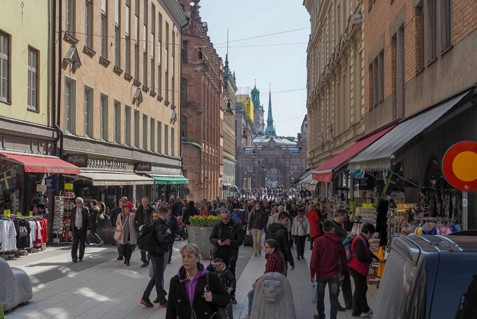 Drottninggatan is Stockholm's main shopping street