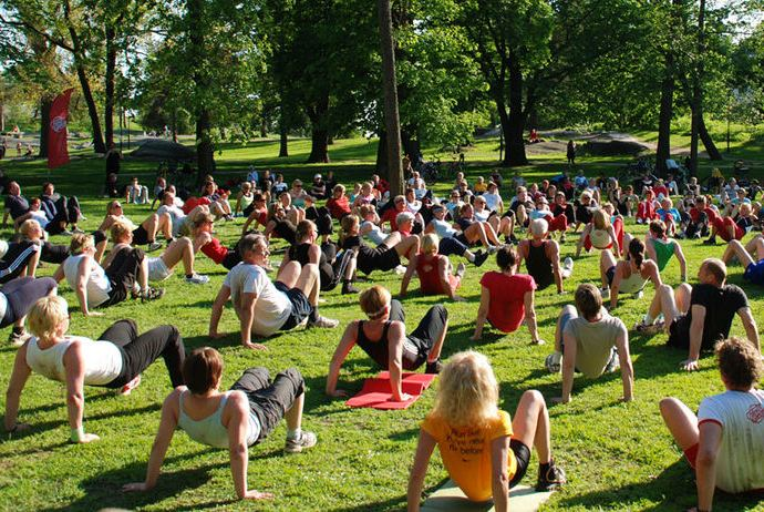 Free exercise classes in the park in Stockholm, Sweden