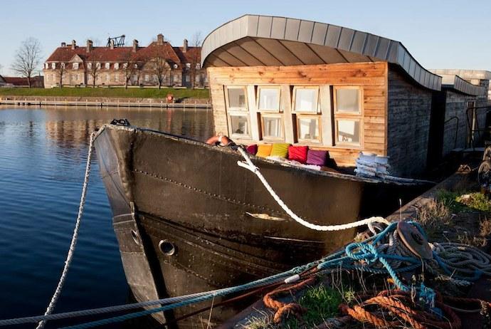 Upcycled houseboat near Refshaleøoen's hipster bars
