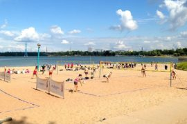 play volleyball on the beach in summer, Helsinki