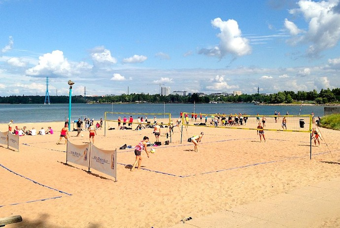You can play volleyball on the beach in summer, Helsinki