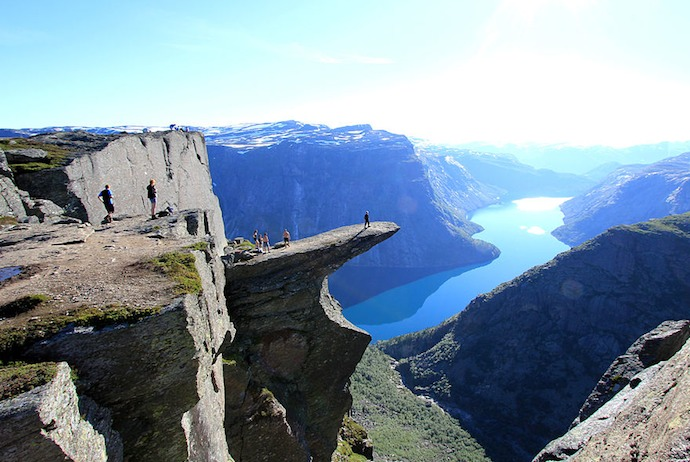 The dramatic Trolltunga outcrop of rock is a great place to go hiking in Norway