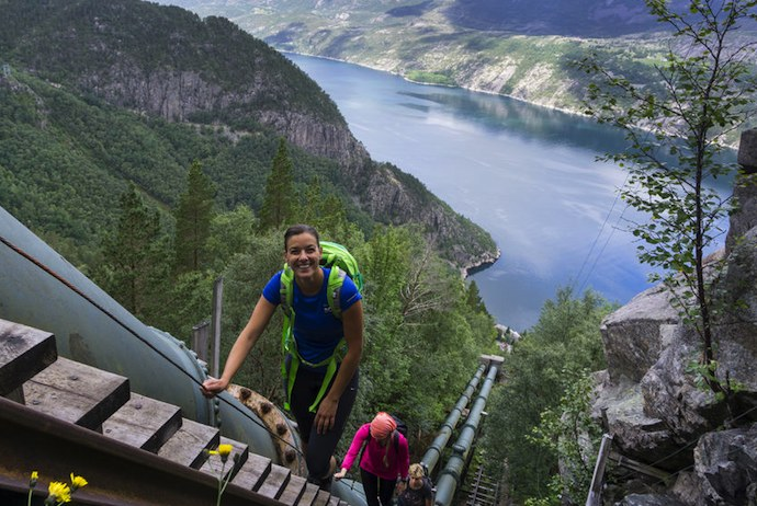 The Flørli staircase has 4444 steps, making it a very challenging hike