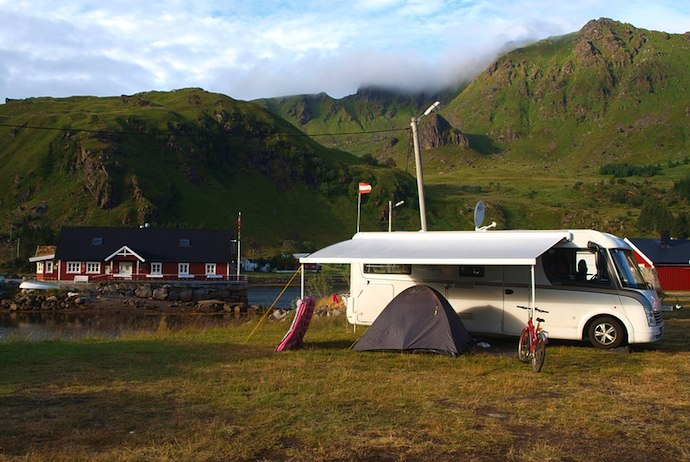 Rvs and camper vans in the Lofoten, Norway
