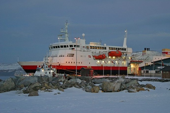 One of the Hurtigruten boats at Kirkenes port in Norway