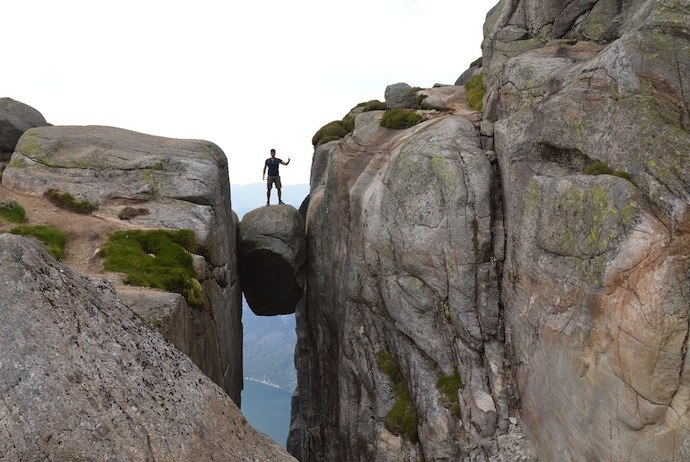 Brave the Kjerag Boulder, Norway, on this guided hiking tour