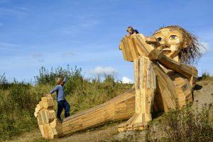 Forgotten Giant statues, made of driftwood, Copenhagen