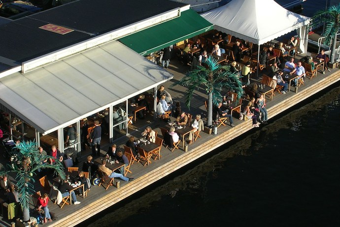 Stop for a coffee in a waterfront café in Stockholm in summer