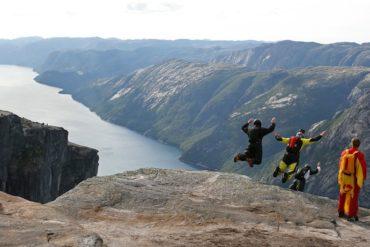 Base jumping at Kjerag, Norway