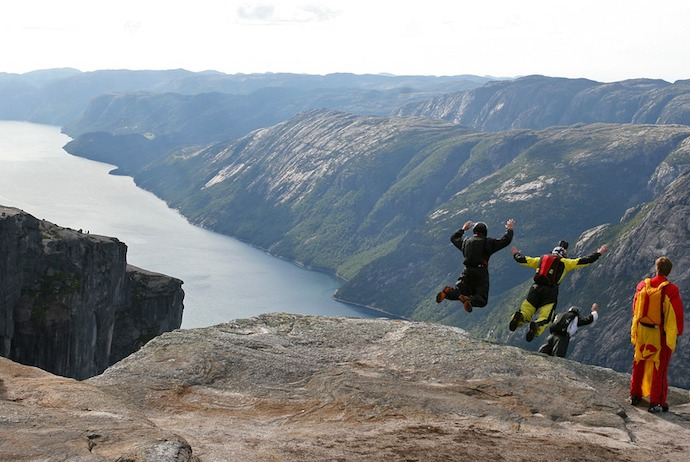 Base jumping at Kjerag, Norway