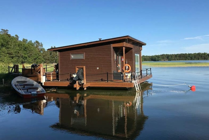 This lakeside cabin is an unusual place to stay at near Helsinki, Finland