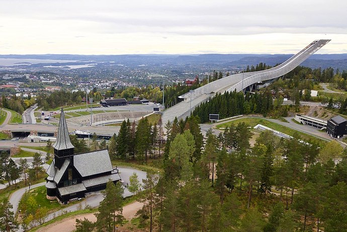 Holmenkollen ski jump and zip-wire, Norway
