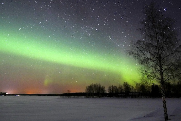You can see the northern lights during Finland's winter