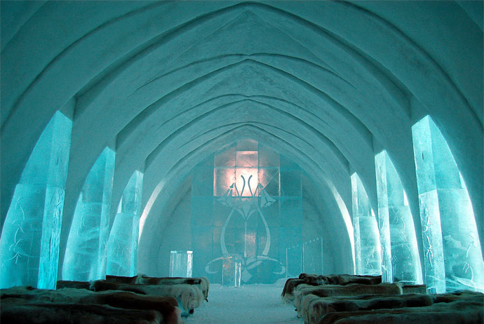 There's even a church at the Icehotel