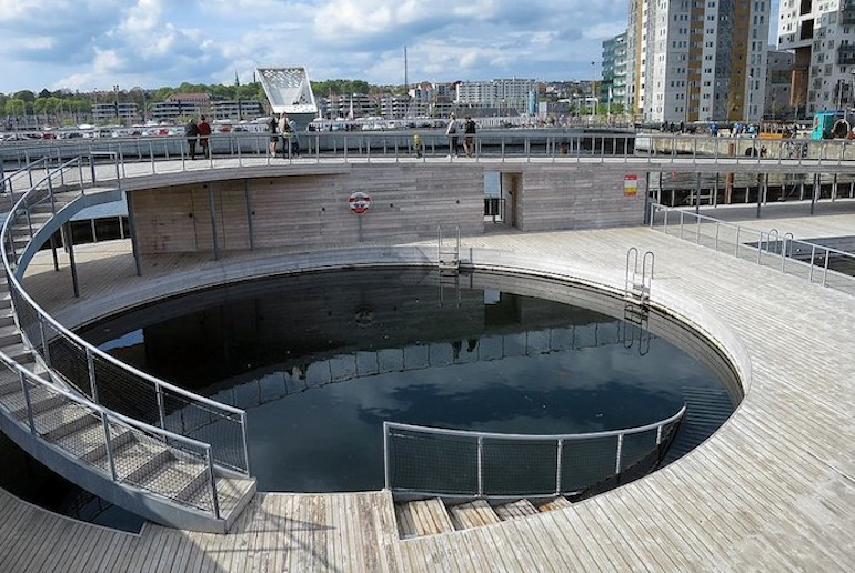 It's free to swim in the harbour baths in Aarhus