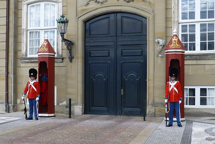 Royal guards at the Amelienborg Palace