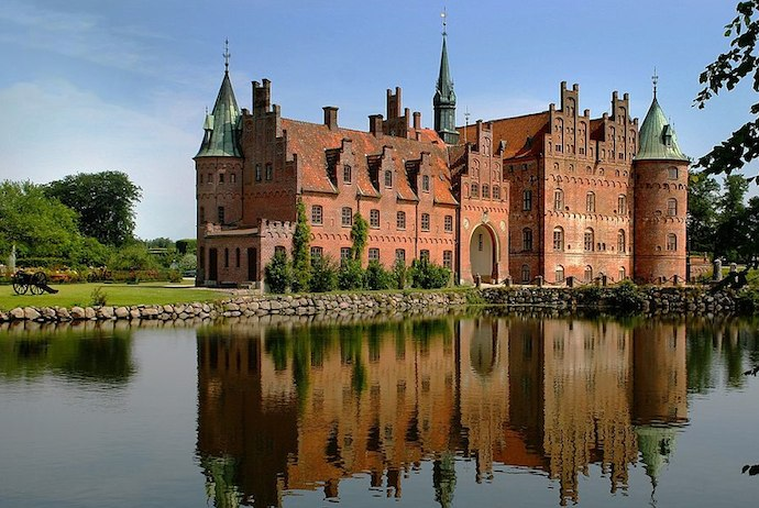 Egeskov castle on the island of Funen, Denmark