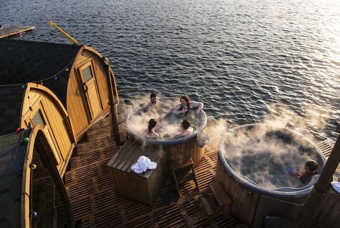 Stay warm outside in a cosy communal bath in Copenhagen