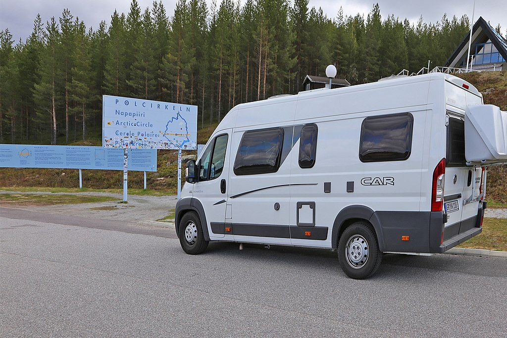 Crossing the Artcic Circle in Swedish Lapland by camper van