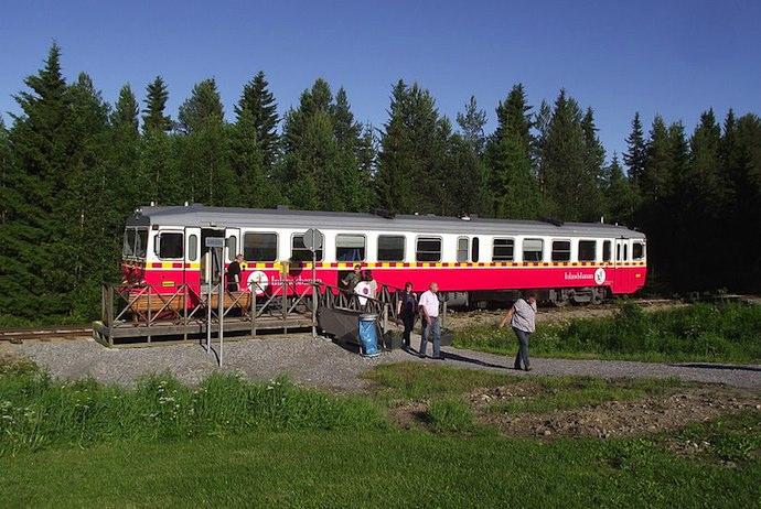 The Inlandsbanan crosses the Arctic Circle in Swedish Lapland