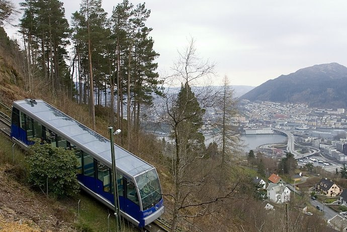 The Fløibanen funicular is included in the Bergen Card